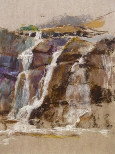 """Bastion Falls in Pastel"" original fine art by Jamie Williams Grossman"