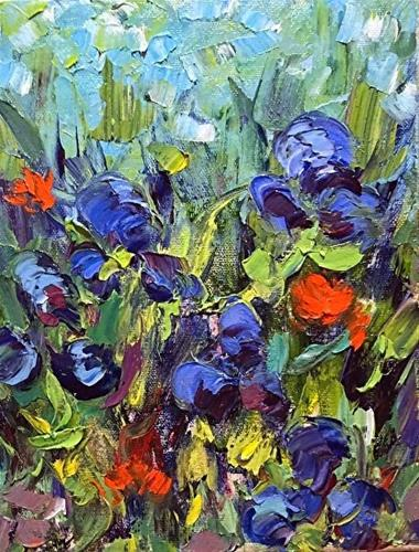 """Palette Knife Flower Painting Think Spring by Colorado Impressionist Judith Babcock"" original fine art by Judith Babcock"