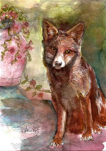 """5x7 Rodney Fox Watercolor Animal Painting Pet Portrait Original Penny StewArt"" original fine art by Penny Lee StewArt"