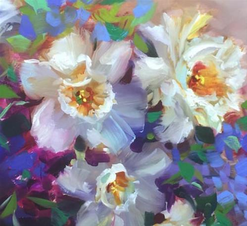 """Six Days to Painting Brilliant Colors ~ An Online Course ~ Daffodils in Bloom ~ Nancy Medina Art"" original fine art by Nancy Medina"