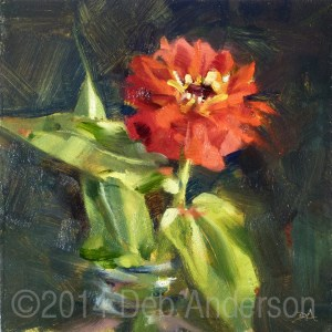 """Oil Painting of a Zinnia"" original fine art by Deb Anderson"