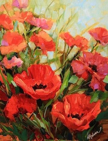 """Pink Pilate Poppies by Texas Flower Artist Nancy Medina"" original fine art by Nancy Medina"