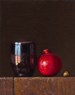 """Still Life with Acorn, Pomegranate, & Handmade Cup"" original fine art by Abbey Ryan"