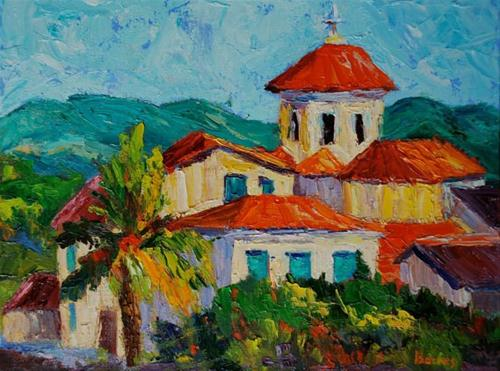 """Red Tiled Athens Church"" original fine art by Liz Zornes"