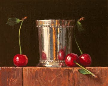 """Silver Cup with Sweet Cherries"" original fine art by Abbey Ryan"