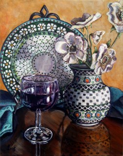 """Glass of Wine: Polish Pottery LIV"" original fine art by Heather Sims"