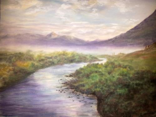 """Misty Morning on Slate River"" original fine art by Becky Chappell"