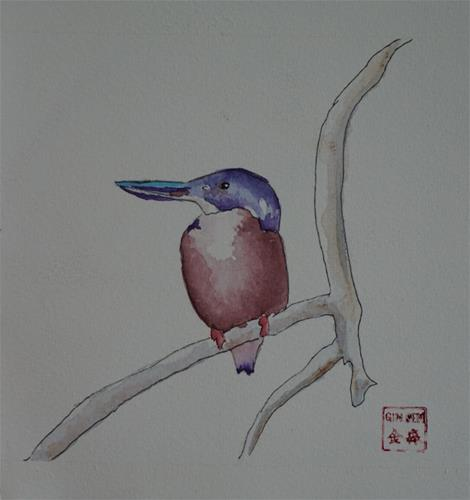 """Kingfisher"" original fine art by Gin Sen"