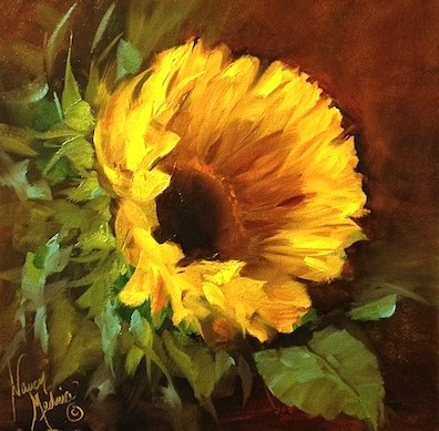"""Lost Moments Sunflower Painting and a Free Painting Demo by Nancy Medina"" original fine art by Nancy Medina"
