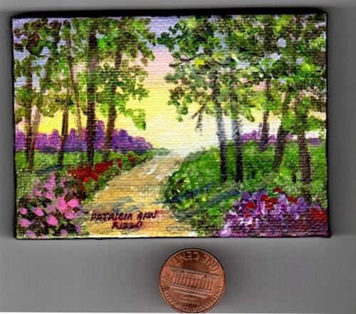 """What's up Ahead? Miniature Painting"" original fine art by Patricia Ann Rizzo"
