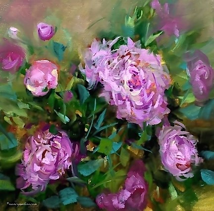 """Ballet Slipper Pink Peonies and the Birds and the Bees - Flower Painting Classes and Workshops by Na"" original fine art by Nancy Medina"