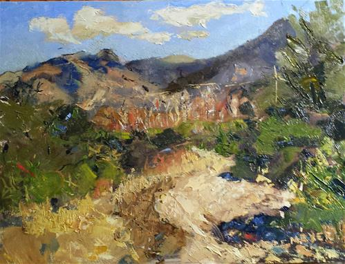 """Gulch View of Santa Ritas and the Cottonwoods"" original fine art by Pamela Wedemeyer"
