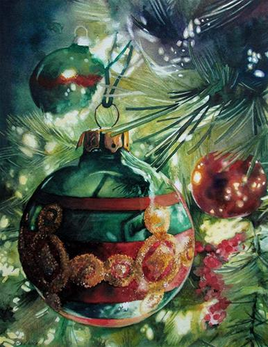 """Holiday Sparkle"" original fine art by Kara K. Bigda"