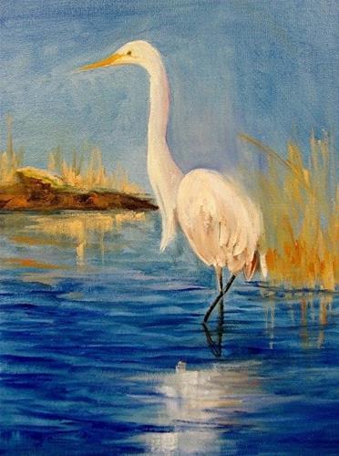 """Silent Fisherman  Egret"" original fine art by Barbara Haviland"