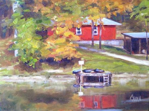 """""""Red House, 6x8"""" original fine art by Carmen Beecher"""