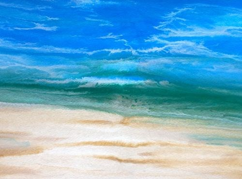 """Contemporary Seascape,Abstract Beach Art, Beach Dreams-Azurean and Green I by Colorado Contemporar"" original fine art by Kimberly Conrad"