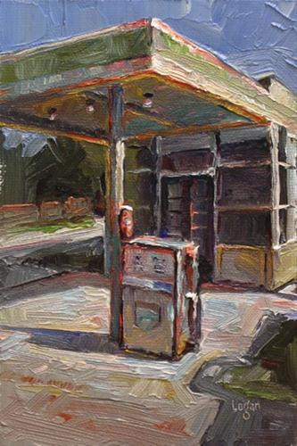 """Gas Station"" original fine art by Raymond Logan"