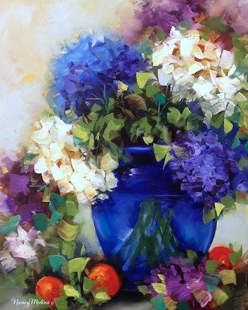 """Midnight Blue Hydrangeas"" original fine art by Nancy Medina"