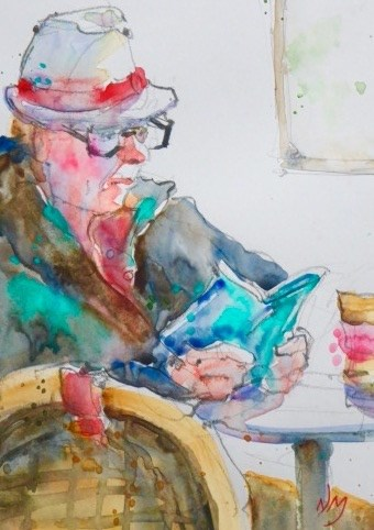 """page turner"" original fine art by Nora MacPhail"