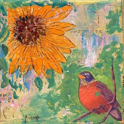 """Sunflower with Robin"" original fine art by Sue Furrow"