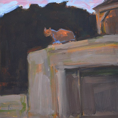 """Cat on a Garage"" original fine art by Kevin Inman"