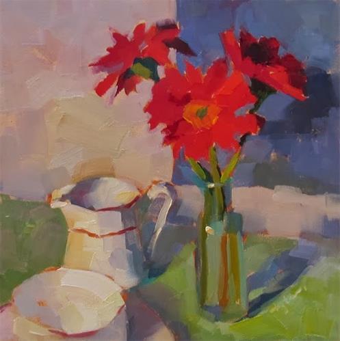 """Red Gerbera"" original fine art by Katia Kyte"