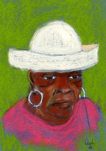 """Queen Playing Yahtzee"" original fine art by Donna Crosby"