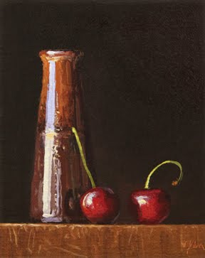 """Beaker Vase with Two Cherries at Sunset"" original fine art by Abbey Ryan"