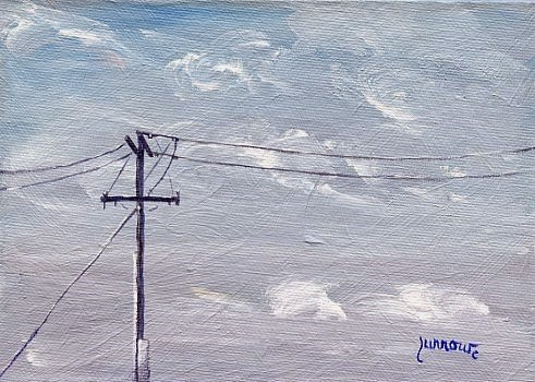 """ORIGINAL SKYSCAPE PAINTING WITH UTILITY POLE"" original fine art by Sue Furrow"