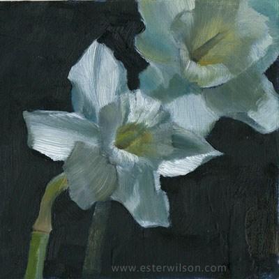 """Flowers in Moonlight"" original fine art by Ester Wilson"