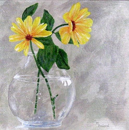 """Contemporary  Still Life, Flower Art Painting  Lemon Zest  by Mary Arneson Art-Works of Whimsy"" original fine art by Mary Arneson"