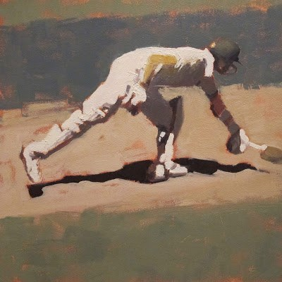 """BATSMAN 5 - Cricket at the MCG"" original fine art by Helen Cooper"
