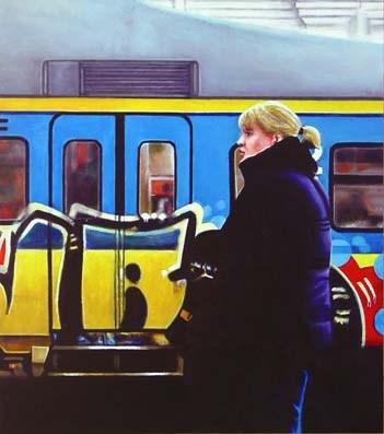 """Graffiti Train- Woman Waiting For Train"" original fine art by Gerard Boersma"