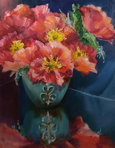 """Poppies & Turquoise_11 x 14 Oil, Still Life"" original fine art by Donna Pierce-Clark"