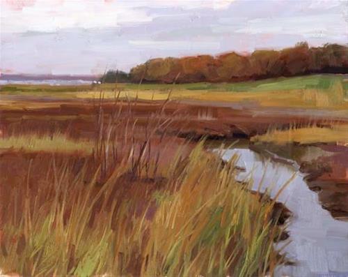 """Marsh in autumn colors"" original fine art by Kathy Weber"