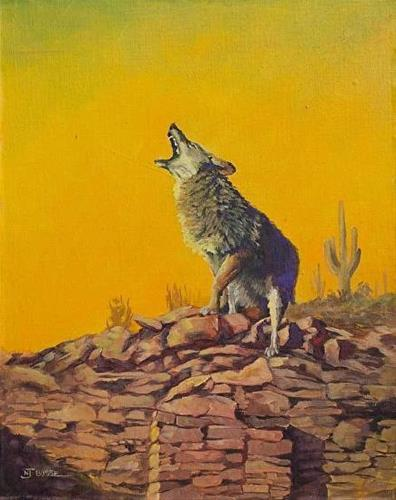 """Original Coyote,Wildlife Painting COYOTE ON A KIVA  by Colorado Artist Nancee Jean Busse, Painter"" original fine art by Nancee Busse"