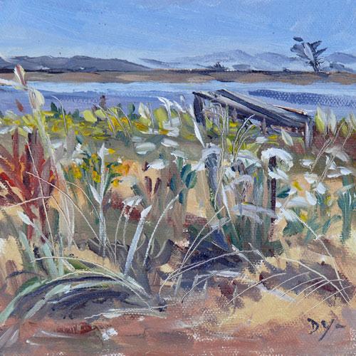 """Esquimalt Lagoon, 6x6, oil"" original fine art by Darlene Young"