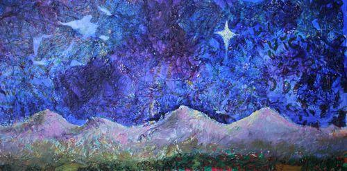 """Bethlehem Night, Mixed Media"" original fine art by Amy Whitehouse"