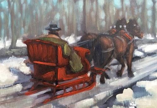 """Red Sleigh"" original fine art by Elaine Juska Joseph"