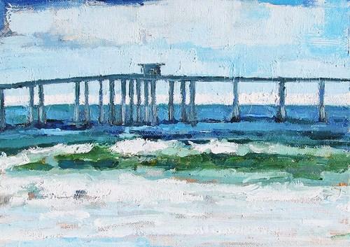 """Ocean Beach Pier, San Diego Seascape Painting"" original fine art by Kevin Inman"