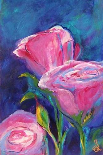"""3101 - Mounted - Betty Boop Roses"" original fine art by Sea Dean"