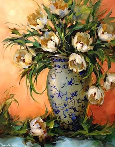 """White Tulips on Teal and a Workshop Surprise by Floral Artist Nancy Medina"" original fine art by Nancy Medina"