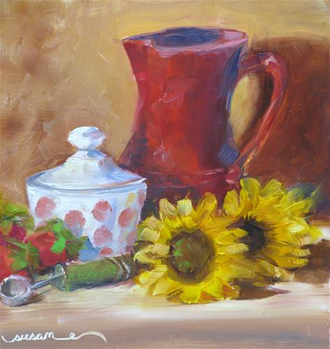 """Fire King and Sunflowers"" original fine art by Susan Elizabeth Jones"