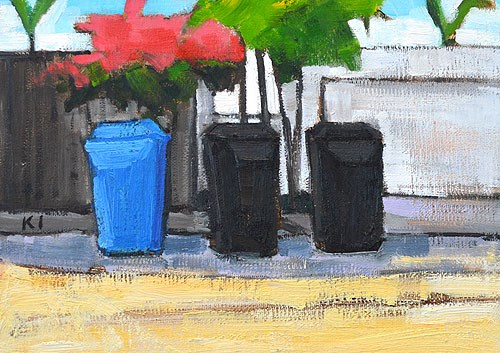 """Trash Cans & Bougainvillea, San Diego"" original fine art by Kevin Inman"