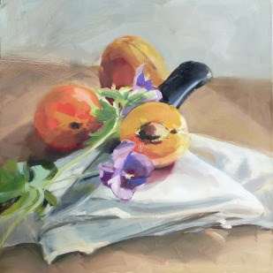 """Oil Painting: Three Apricots"" original fine art by Deb Anderson"