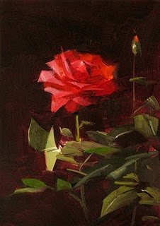 """Red Rose Study 1"" original fine art by Qiang Huang"