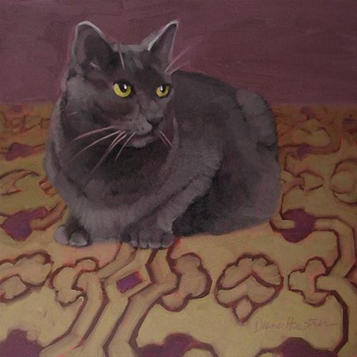 """Coco on Purple  gray cat on pattern painting"" original fine art by Diane Hoeptner"