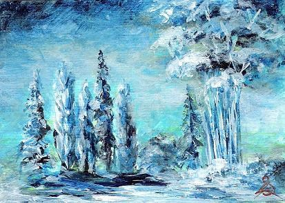 """3106 - PRE-DAWN TREES - ACEO TRIO Series"" original fine art by Sea Dean"