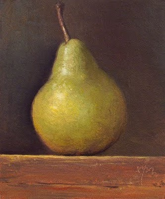 """Bartlett Pear in Late Afternoon Light"" original fine art by Abbey Ryan"