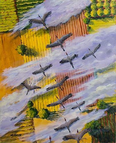 """Contemporary Wildlife Bird Painting Fly South by Colorado Artist Nancee Jean Busse, Painter of the"" original fine art by Nancee Busse"